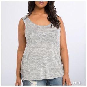 Torrid Gray and White Marled Lace Inset Tank Top